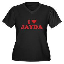 I LOVE JAYDA Women's Plus Size V-Neck Dark T-Shirt