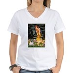 Fairies & Pug Women's V-Neck T-Shirt