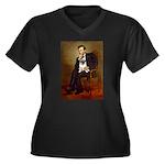 Lincoln's Pug Women's Plus Size V-Neck Dark T-Shir