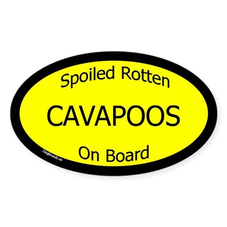 Spoiled Cavapoos On Board Oval Sticker