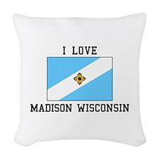 I Love Madison, Wisconsin Woven Throw Pillow