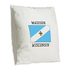 Madison, Wisconsin Burlap Throw Pillow