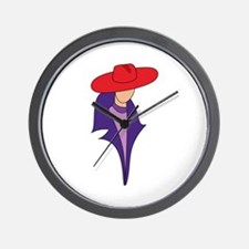 Gal In Red Hat Wall Clock