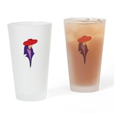 Gal In Red Hat Drinking Glass