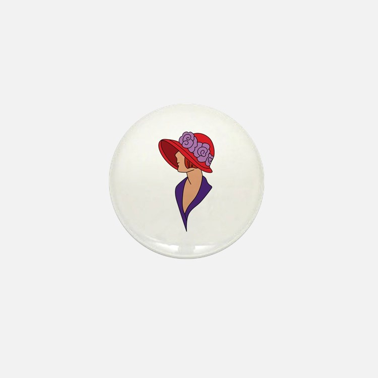 Lady In Hat Mini Button