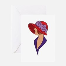 Lady In Hat Greeting Cards