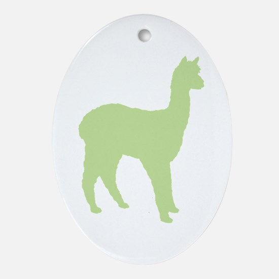 Alpaca (#2 in green) Oval Ornament