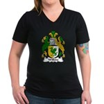 Wilkins Family Crest Women's V-Neck Dark T-Shirt