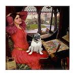 Lady / Pug Tile Coaster
