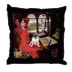 Lady / Pug Throw Pillow