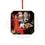 Lady / Pug Ornament (Round)