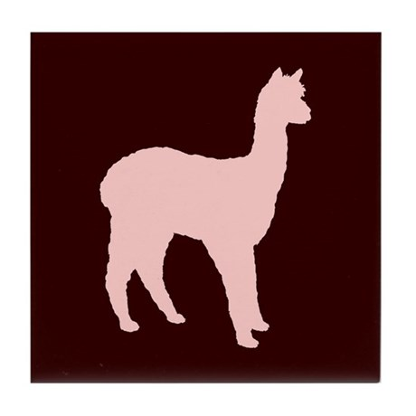 Alpaca (#2 in pink) Tile Coaster