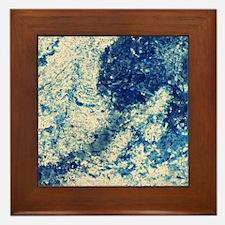 Blue Stone Splatter Framed Tile