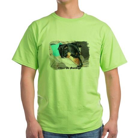 I Dont Do Mornings Doxie Green T-Shirt