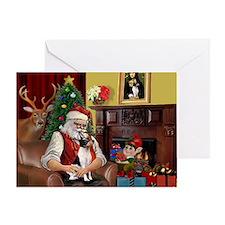 Santa & Toy Fox Terrier Greeting Card