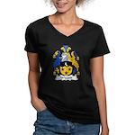 Wiggett Family Crest Women's V-Neck Dark T-Shirt