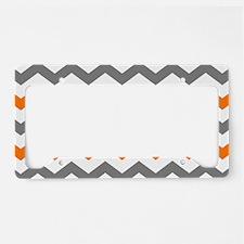 Gray and Orange Chevron Pattern License Plate Hold