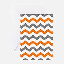 Gray and Orange Chevron Pattern Greeting Cards