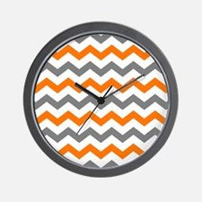 Gray and Orange Chevron Pattern Wall Clock