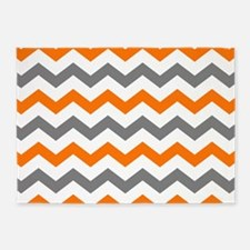 Gray and Orange Chevron Pattern 5'x7'Area Rug