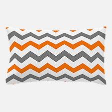 Gray and Orange Chevron Pattern Pillow Case