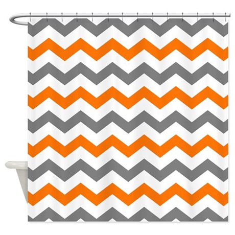 Gray And Orange Chevron Pattern Shower Curtain By Printcreekstudio