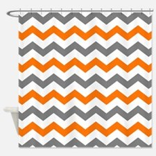 Gray and Orange Chevron Pattern Shower Curtain