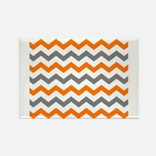 Gray and Orange Chevron Pattern Magnets