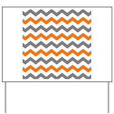 Gray and Orange Chevron Pattern Yard Sign