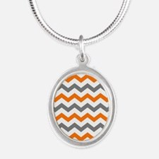 Gray and Orange Chevron Pattern Necklaces