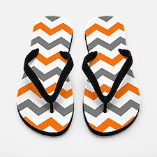 Gray and Orange Chevron Pattern Flip Flops