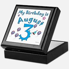 August 3rd Birthday Keepsake Box