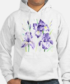 Watercolor Abstract Iris Pattern Hoodie