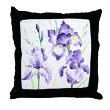 Watercolor Abstract Iris Pattern Throw Pillow