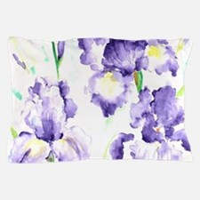 Watercolor Abstract Iris Pattern Pillow Case