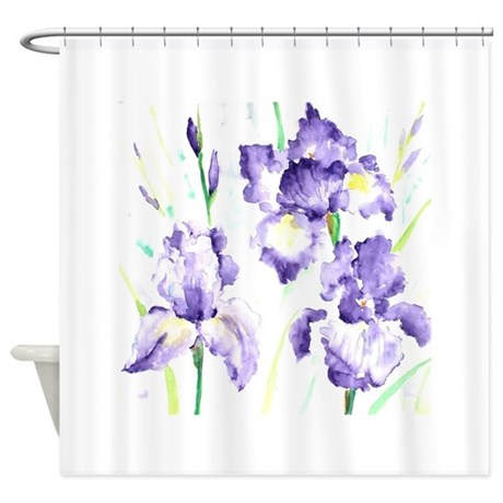 watercolor abstract iris pattern shower curtain by admin