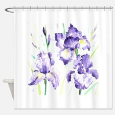 Watercolor Abstract Iris Pattern Shower Curtain