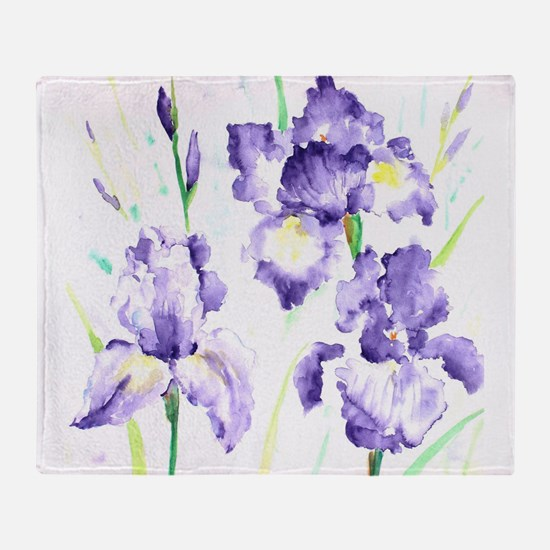 Watercolor Abstract Iris Pattern Throw Blanket