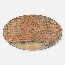 Vintage Map of Nice France (1914) Sticker (Oval)