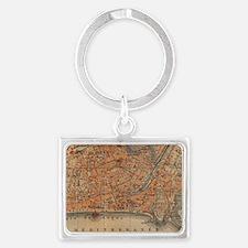 Vintage Map of Nice France (191 Landscape Keychain