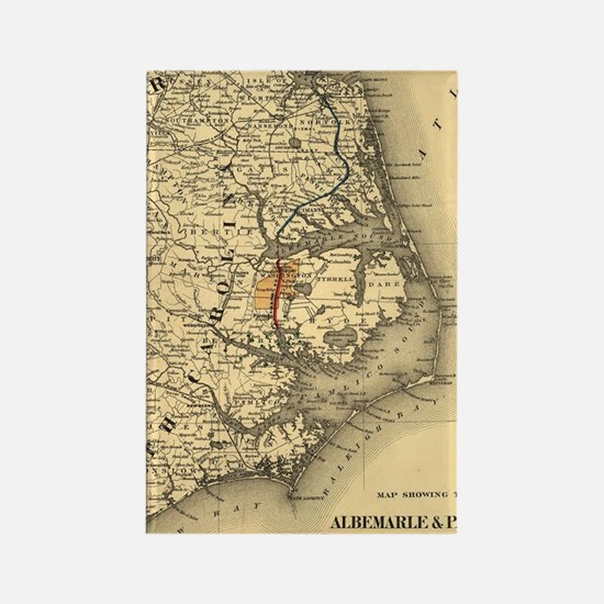 Vintage Map of The North Carolina Rectangle Magnet