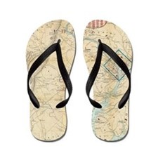 Vintage Northern Virginia Civil War Map Flip Flops