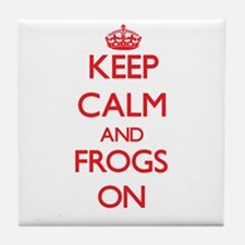 Keep Calm and Frogs ON Tile Coaster