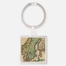 Vintage Map of Norway and Sweden ( Square Keychain
