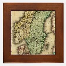 Vintage Map of Norway and Sweden (1831 Framed Tile