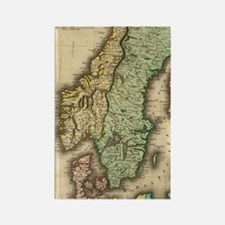 Vintage Map of Norway and Sweden  Rectangle Magnet