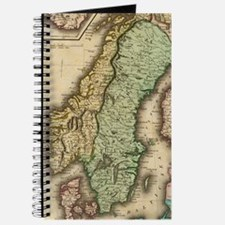Vintage Map of Norway and Sweden (1831) Journal