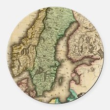 Vintage Map of Norway and Sweden  Round Car Magnet
