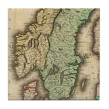Vintage Map of Norway and Sweden (183 Tile Coaster