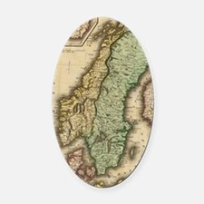 Vintage Map of Norway and Sweden ( Oval Car Magnet